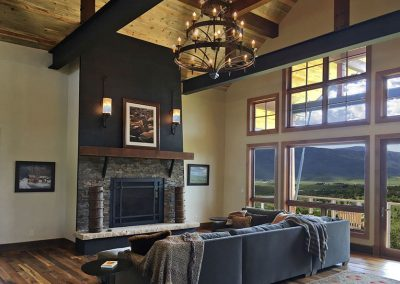 living room in custom home built by rivertree building